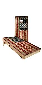 all weather cornhole corn hole tournament usa america flag design rustic wood corn filled