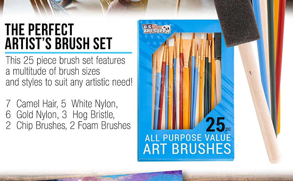 U.S. Art Supply 25 Piece Assorted Brush Set
