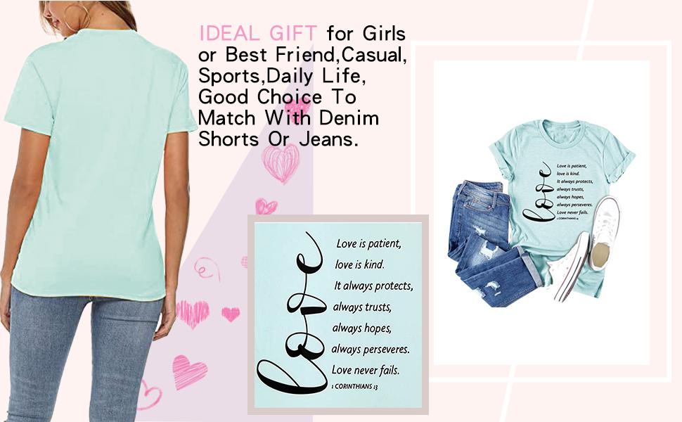 Women Novel Heart Graphics Short Sleeve Tee Tops