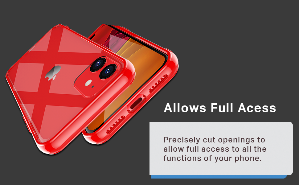 clear cover iphone 11 case red transparent consumer electronic bumper openings access Hard Plastic