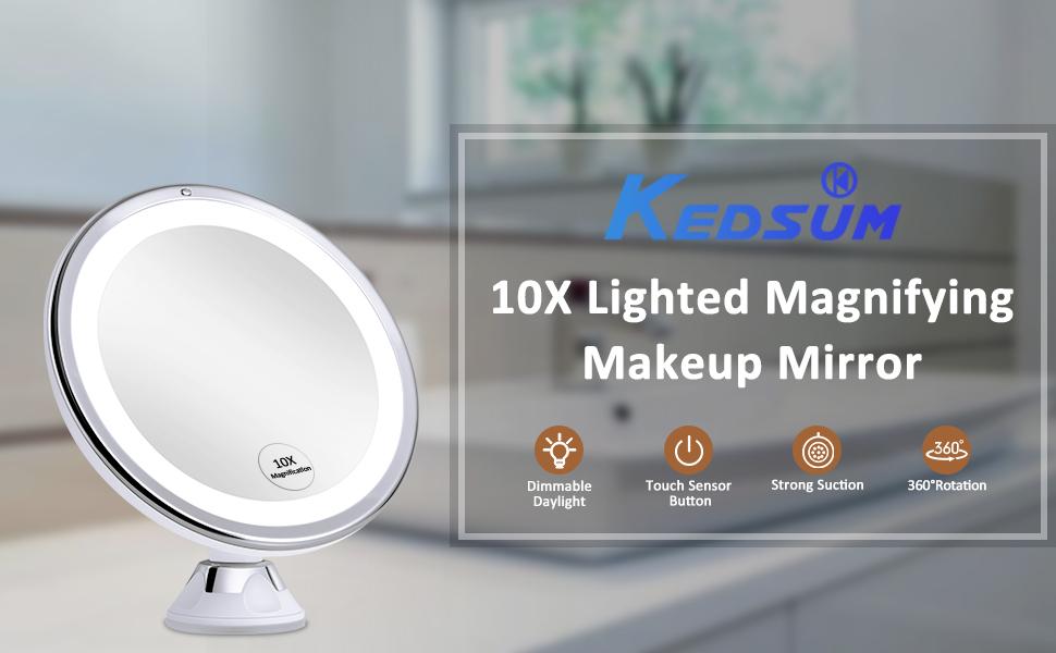 Kedsum 2020 Newest 7 8 10x Magnifying, Kedsum 6 8 10x Magnifying Led Lighted Makeup Mirror