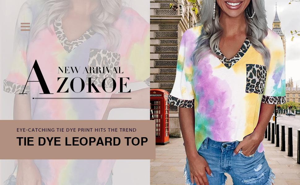 Zecilbo Women Long Sleeve Hoodie Loose Sweatshirt Colorblock Tie Dye Printed Pullover Tops Orange L