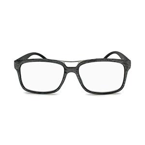 wood grain eyeglasses with metal top bar in royal gray
