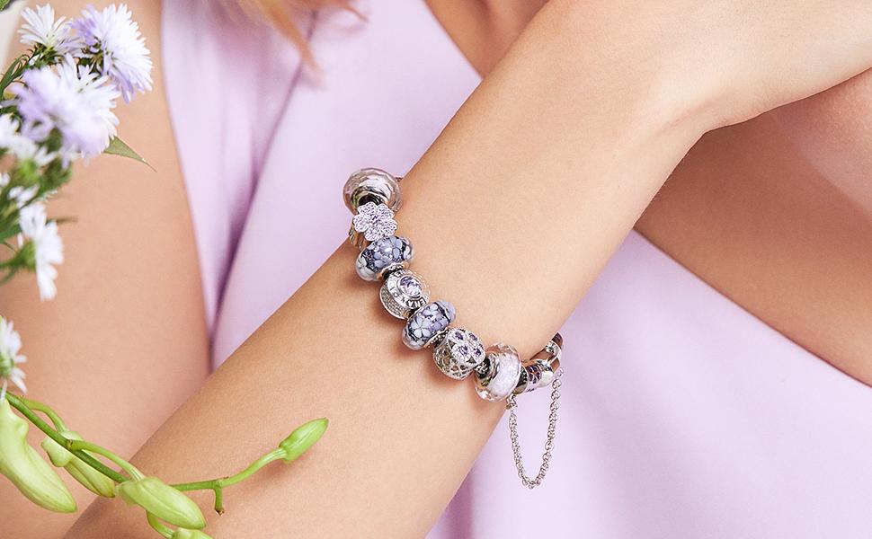 Flower murano glass charms for bracelet