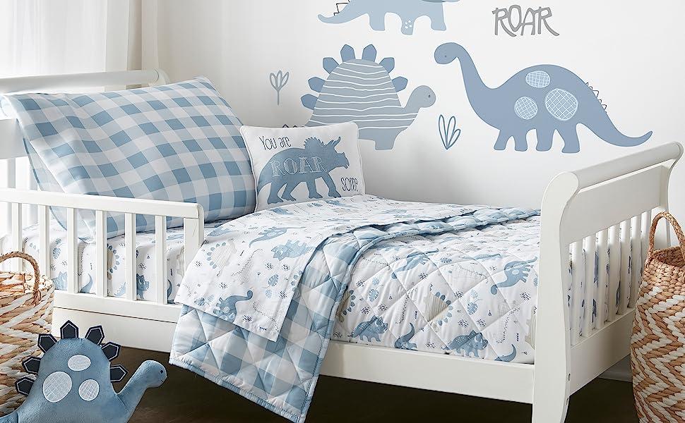 Dino toddler bedding Levtex baby crib bedding grey blue
