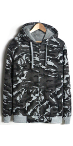 camo grey mens sherpa lined hoodie