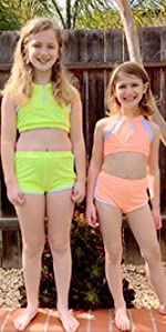 Swimsuits Girls Moms Bikini Set Mesh Sports Bathing Suits