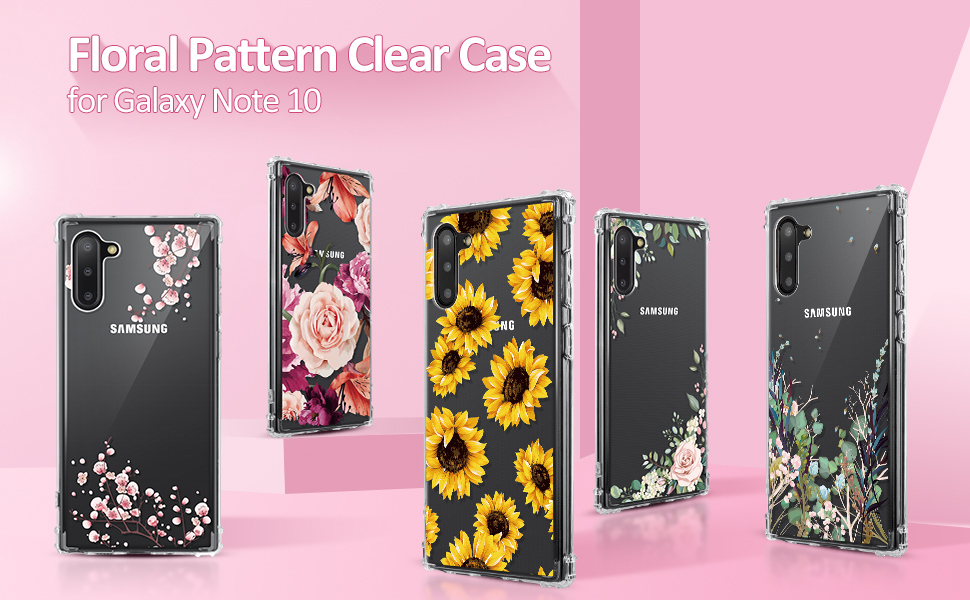 galaxy note 10 case floral transparent  clear