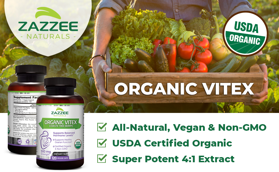 Zazzee Naturals Organic Vitex, All-Natural, Vegan, USDA Certified Organic, Super Potent 4:1 Extract.
