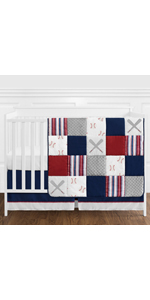 Red, White and Blue Baseball Patch Sports Baby Boy Crib Bedding Set without Bumper