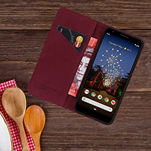 Google Pixel 3A 'Classic Series' real leather wallet case cover open on table