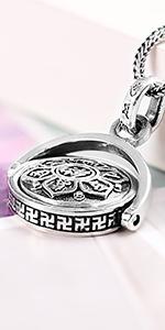silver symbol rotatin pendant
