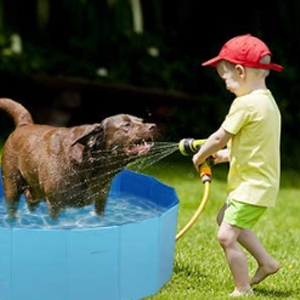 Dog simming pool is made of high-grade PVC material.