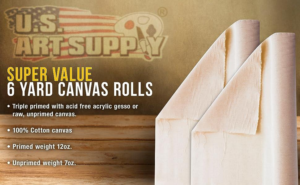 U.S. Art Supply Super Value 6 Yard Canvas Rolls