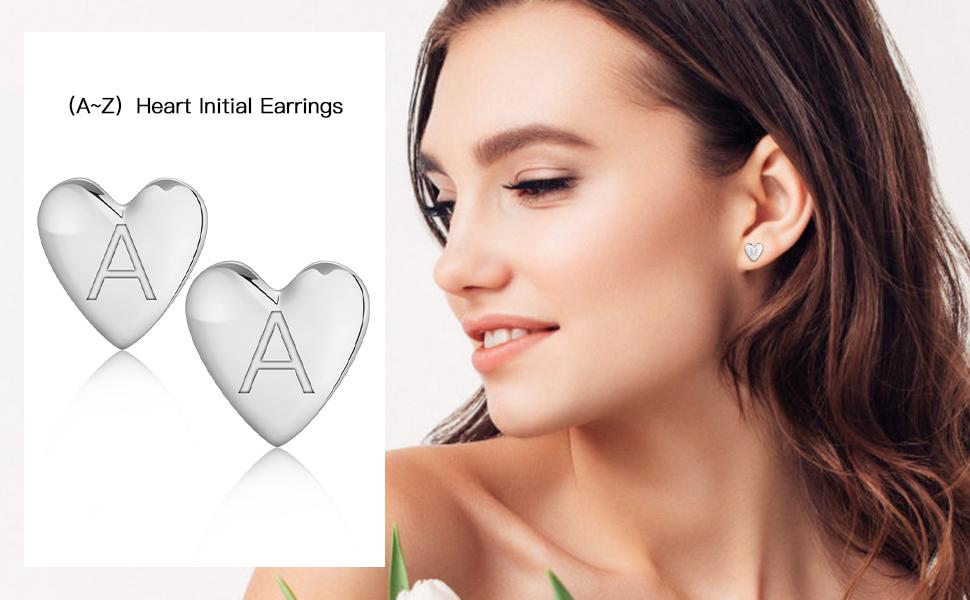 Silver Heart Initial Stud Earrings