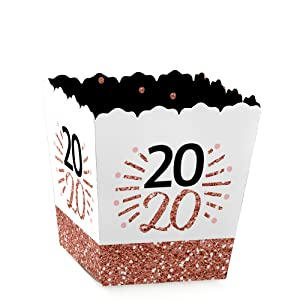 Rose Gold Happy New Year Party Mini Candy Favor Boxes