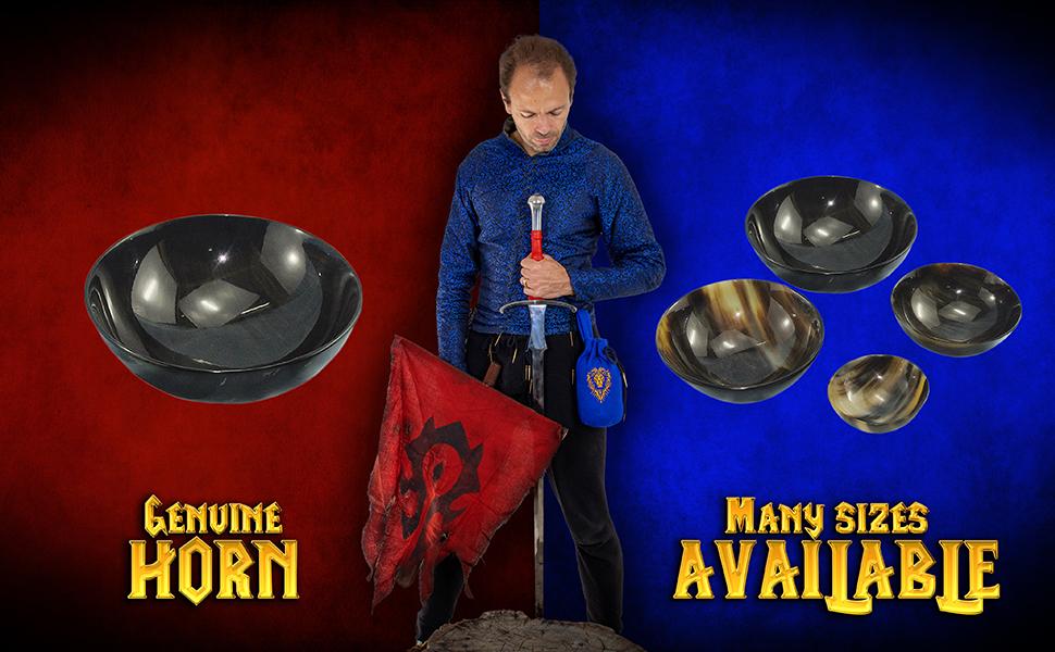 Mythrojan WOW reenactment horn bowl serving LARP knight medieval D&D renaissance Viking renfair