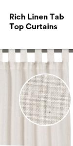 natural linen curtains tab top curtains
