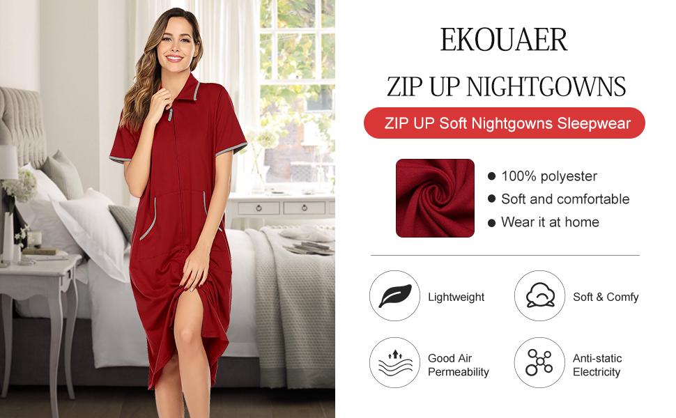 Women Zipper Front Short Sleeve soft Sleepwear