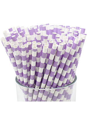 lavender rugby striped paper straw