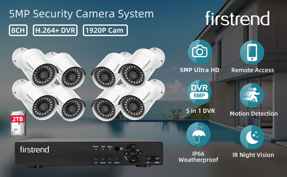 Wired Security Camera System,Firstrend 5MP Wired Home Surveillance Cameras System with 8CH 5MP DVR and 8pcs Indoor Outdoor Weatherproof CCTV Cameras 2TB HDD Night Vision Motion Detection Remote Access