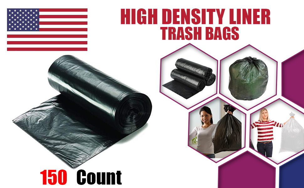 Plastics Gallon Trash Can Liner High Density Bags Rolls Wastebaskets garbage