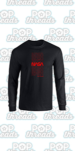 Pop Threads NASA Approved Space Program Logo Retro Graphic Full Long Sleeve Tee T-Shirt