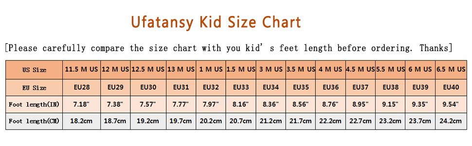 Ufatansy kid size chart