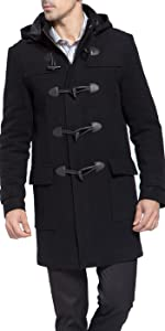 BGSD Men's Benjamin Wool Blend Classic Duffle Coat