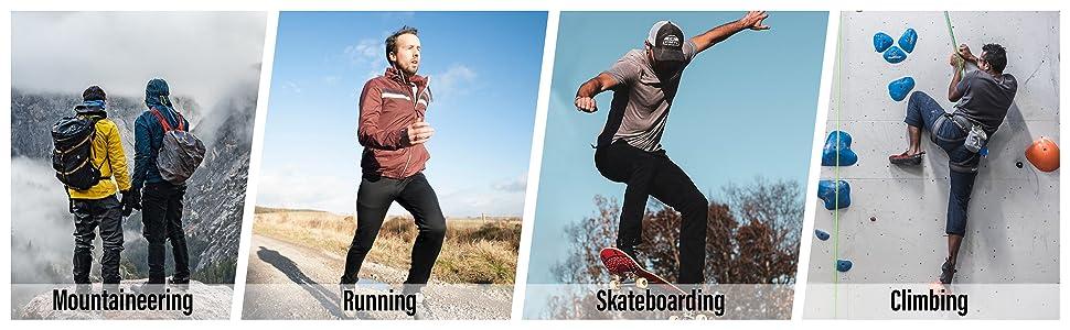 Running Mountaineering Climbing Skateboarding