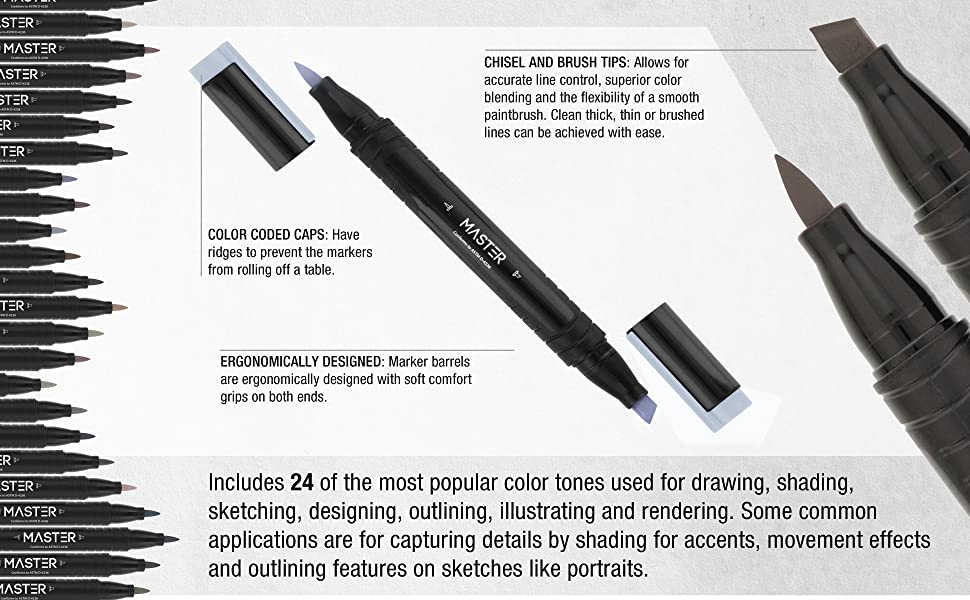 Master Marker Illustration Drawing Markers Double End Chisel Brush Tip Nib