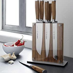 Zebra Wood 7-Piece Knife Set with Ash Wood Block