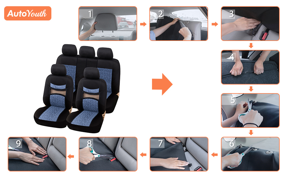 AUTOYOUTH Gray print Black Car Seat Covers Full Set Car Seat Protectors Car Seat Accessories 9PCS Fit 40//60 Split 40//20//40 Split and 50//50 Split