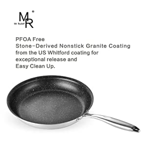 11 inch 18/10 Stainless Steel Fry Pan Dishwasher Safe Omelets Skillet