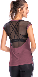 workout tops for women loose fit mesh back