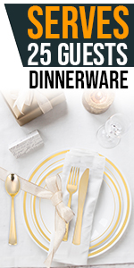 Gold Plate Set 200 Pieces for 25 Guests Disposable Cups Knives Forks Straws Spoons Napkins Bday