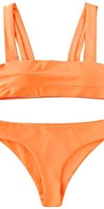 ZAFUL Padded Wide Straps Bandeau Bikini Set