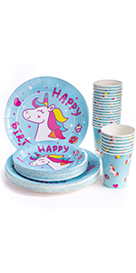 Unicorn Birthday Party Supplies (Serves 24), Disposable Dinner Paper Plates