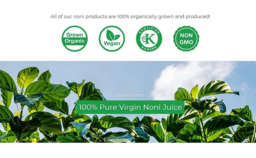 virgin noni juice hawaiian grown organic vegan non gmo kosher