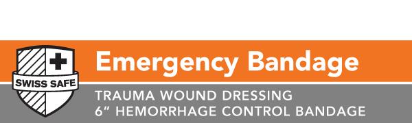 """Emergency Bandage - Trauma Wound Dressing - 6"""" Hemorrhage Control Bandage"""