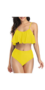 Scalloped Ruffle Flounce High Waisted Bikinis Set