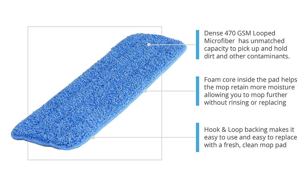 20 inch Microfiber Wet Mop Pads