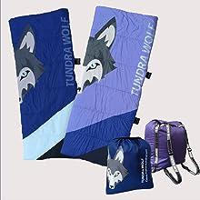 Junior sleeping bag kids sleeping bag kids blanket camping outdoors blanket tundra wolf rucksack