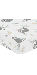 Pink and Grey Jungle Sloth Leaf Girl Baby or Toddler Nursery Fitted Crib Sheet