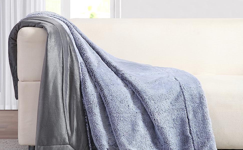 soft textured 100% cotton rabbit mink fur throw blanket