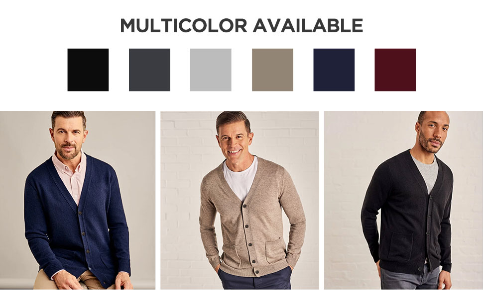 Button down sweaters with pockets classic and plain style loose fit men's sweaters for chilly day