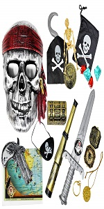 15 PCS Pirate Costume Accessories | Includes Pirate Swords