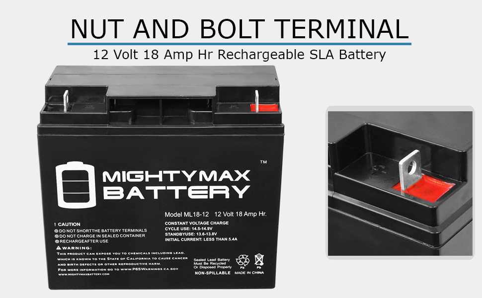 replacement rechargeable battery 12 v 18 ah Nut and Bolt terminal battery maintenance free
