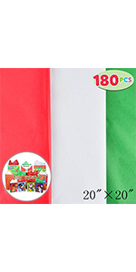 "180 Sheets 20"" x 20"" Christmas Tissue Paper Assortment (Red, Green & White)"