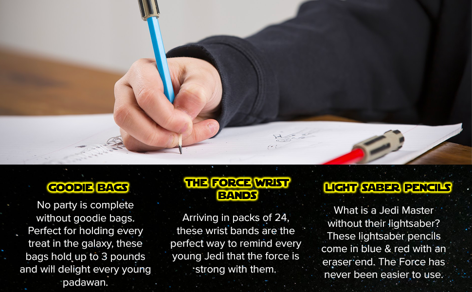Star Wars Party Favors Supplies The Force Silicone Wrist Bands Light Saber Pencils Galaxy Loot Bags